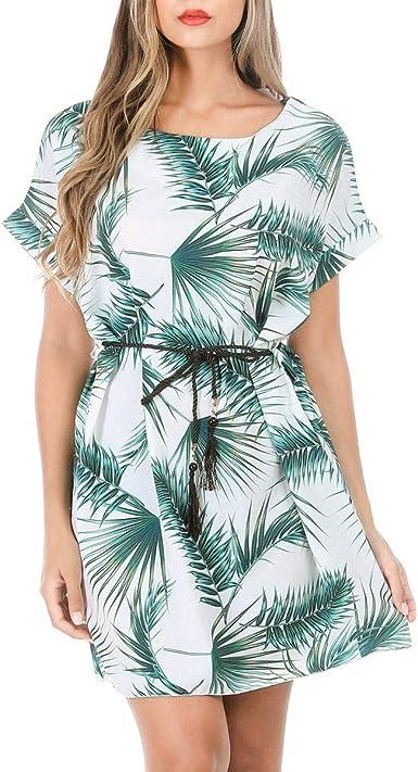 La Modeuse Robe Courte A Imprime Tropical Amazon Fr Vetements Et Accessoires