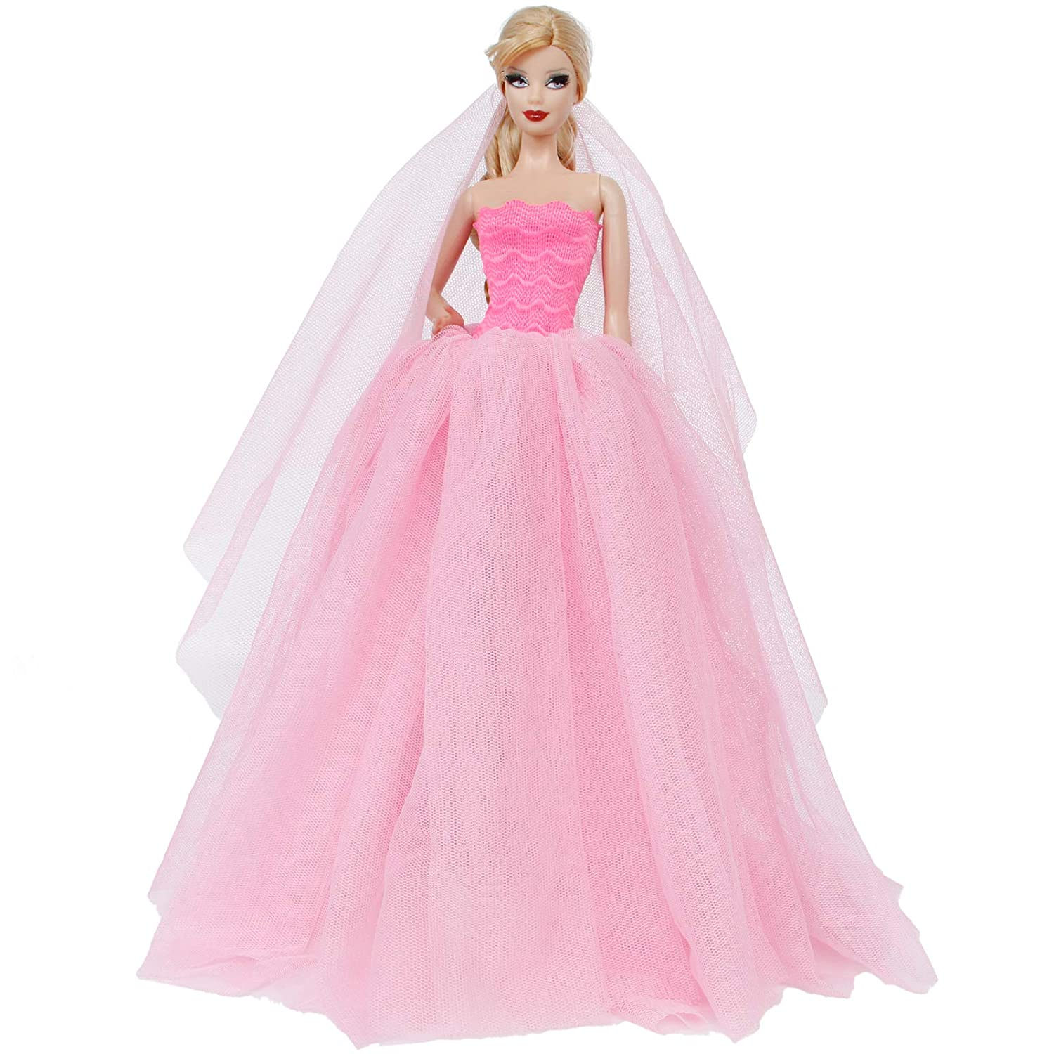 Pink BJDBUS Strapless Elastic Top Wedding Dress with Veil Evening Party Gown Princess Clothes for 11.5 Inch Girl Doll Generic As shown in Image