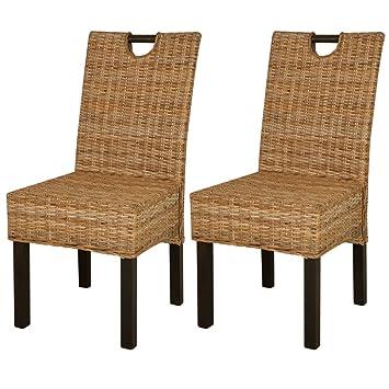 Vidaxl 2x Chaise Salle à Manger Rotin Kubu Bois De Manguier Chaise