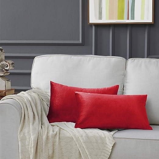 Rojo Terciopelo Almohada Cubre Caso Suave decoración Fundas de de cojín para sofá Dormitorio CocheCama Casa Decor 30x50cm ,Pack de 2