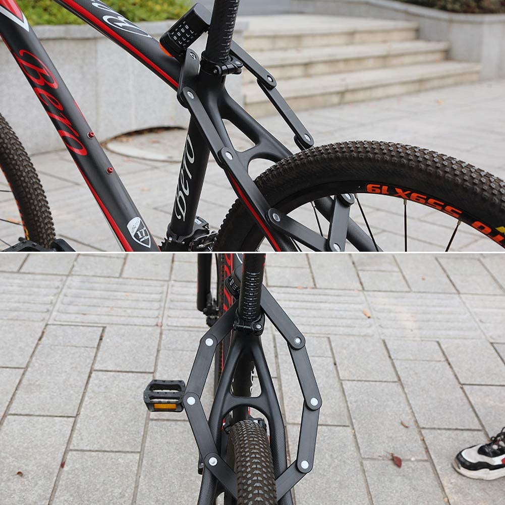 contrase/ñas port/átiles de 4 d/ígitos Cerradura de bicicleta con 6 articulaciones de metal endurecido de alta seguridad cerradura de bicicleta antirrobo Bestcool Cerradura plegable