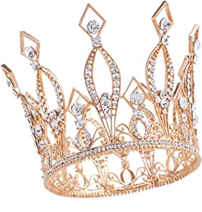 """Santfe 4"""" Height Luxury Full Crown Clear Rhinestone Crystal Silver/Gold Plated Tiara Pageant Bridal Prom Wedding Crown (Gold-3)"""