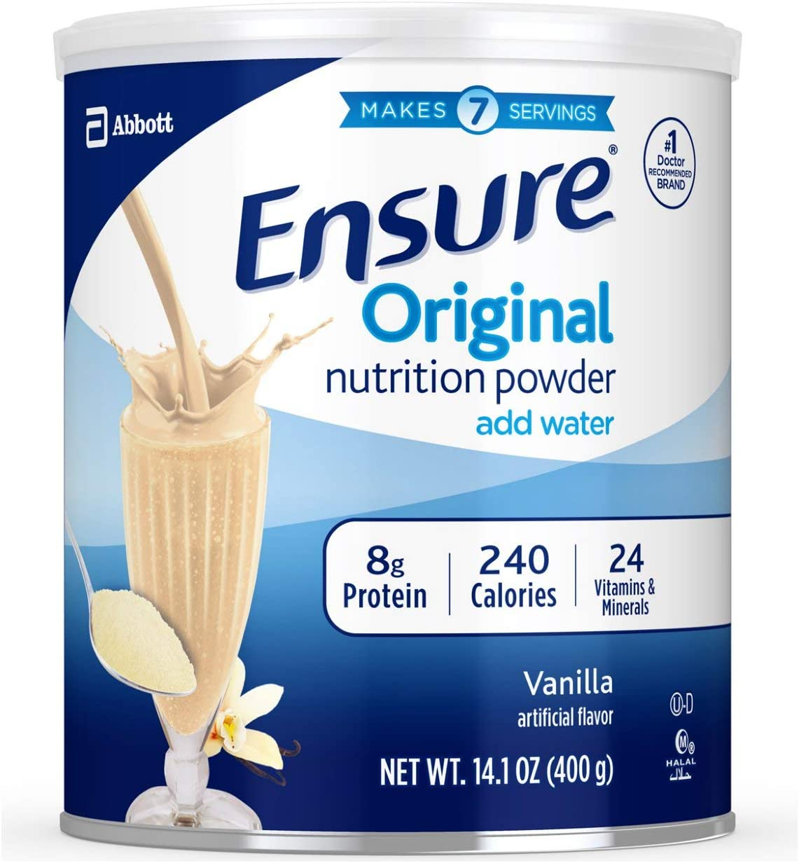 Ensure Original Nutrition Powder with 8 grams of protein, Meal Replacement, Vanilla, 6 count