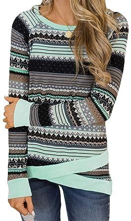 Damen Langarm Asymmetrischer Saum Wickel Hoodie Pullover Sweatshirt Tops DE