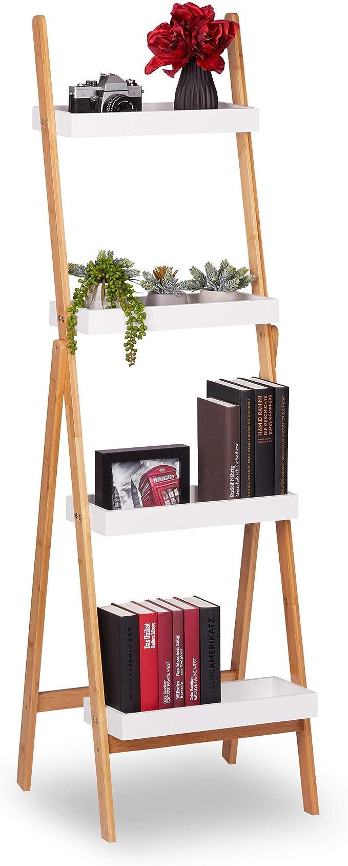 Relaxdays Estantería Escalera Plegable, Decorativa, Soporte Plantas, Baldas Baño, Bambú, 145x45x42 cm, Blanco y Marrón