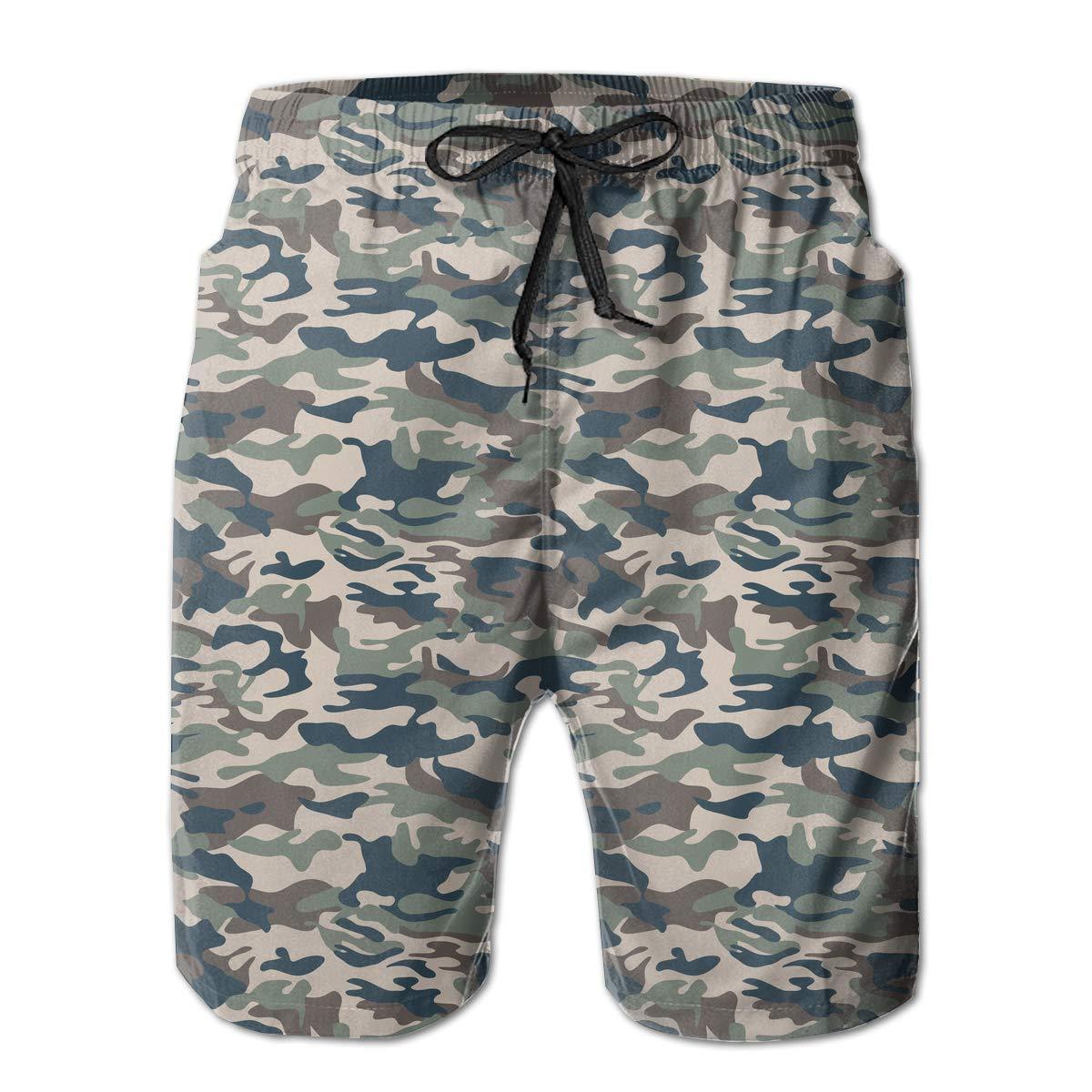 UHT28DG Abstract Camouflage Pattern Mens Boardshorts Surf Yoga Bathing Suit