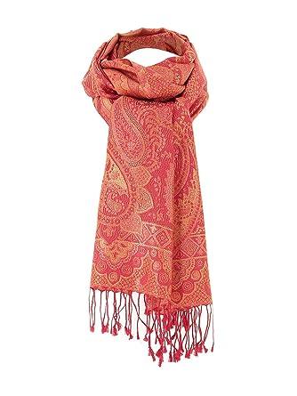 3594b9bf34dd Diwali Paris - Shandrani - Echarpe En Soie Rouge Et Orange Aux Motifs  Cachemire