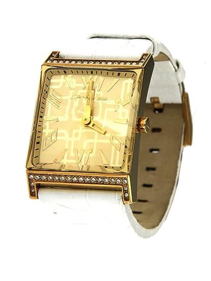Chronotech Reloj mujer elegantissimo solo tiempo caja de acero dorado con pedrería y correa de piel blanca: Amazon.es: Relojes