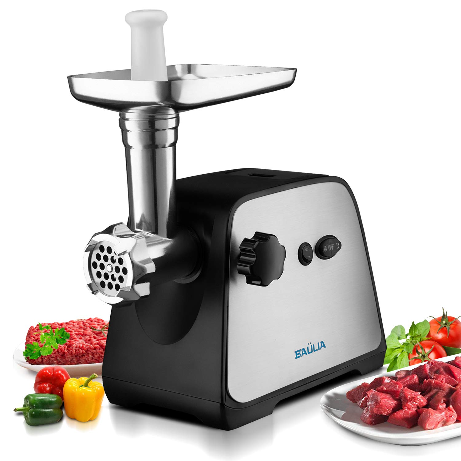 Baulia MG806 Electric Grinder for Home Use, 3 Cutting Blades & Stuffing Tubes, Stainless Steel Meat Mincer for Making Sausages, Chopped Liver, Size #10, Silver
