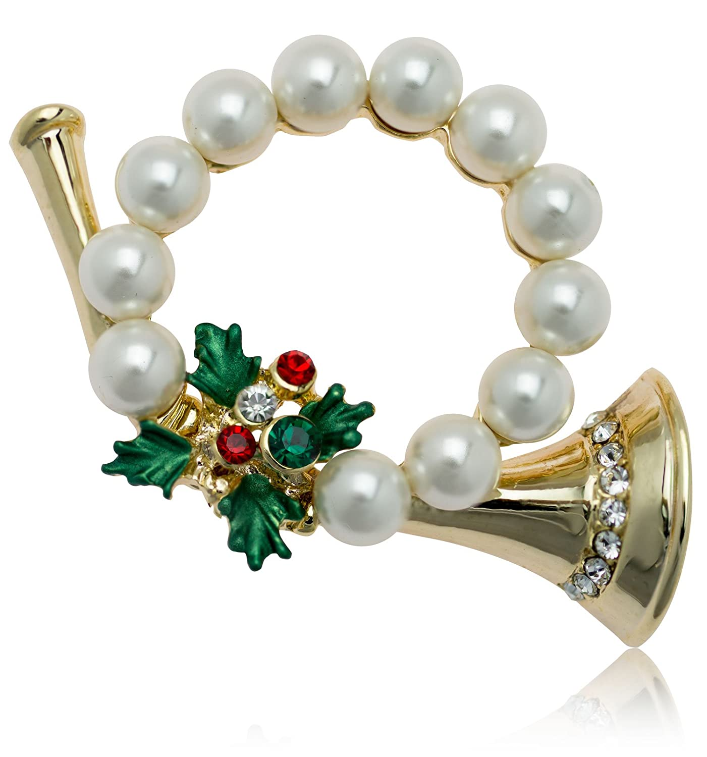 Akianna Swarovski Element Crystals and Simulated Pearls Christmas Horn Wreath Brooch
