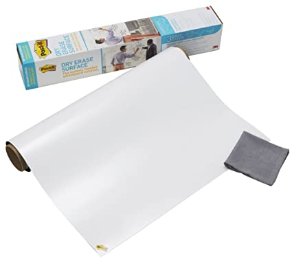 3M Post-it Super Sticky DEF 3x2-EU - Lámina de borrado en seco – Pizarra blanca adhesiva – Rollo de papel pizarra 60.9 x 91.4 cm – color blanco ...