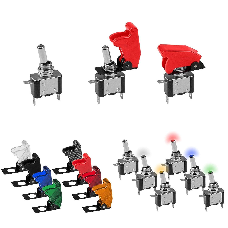 KFZ Kippschalter in 5 verschiedenen LED Farben und passende Kill-Switch Kappen zur Auswahl (Kappe Carbon) Edelstahlmarkenshop