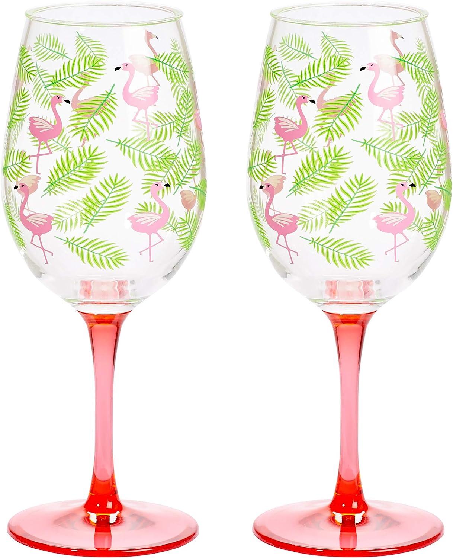 X&O Paper Goods Tropical Pink Flamingo and Palm Leaf Plastic Wine Glass Set, 2pcs, 16 oz., 3.5'' W x 8.75'' H