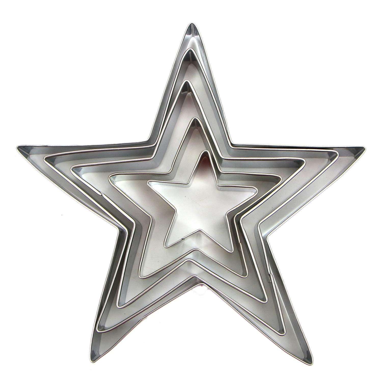 Monrocco 5 PCS Stainless Steel Star Cookie Cutters Set for Pressing Cookies Sandwich and Bread
