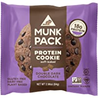 Munk Pack Protein Cookie | Double Dark Chocolate | 18G Protein | Vegan, Gluten Free, Dairy Free, Soy Free, Soft-Baked | 2.96oz, 12-Pack