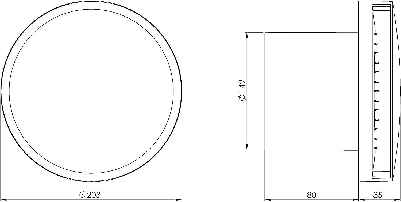 /Ø 100mm Bad-L/üfter mit Feuchtesensor und Timer Wei/ß mit Kugellager Leise Ventilator