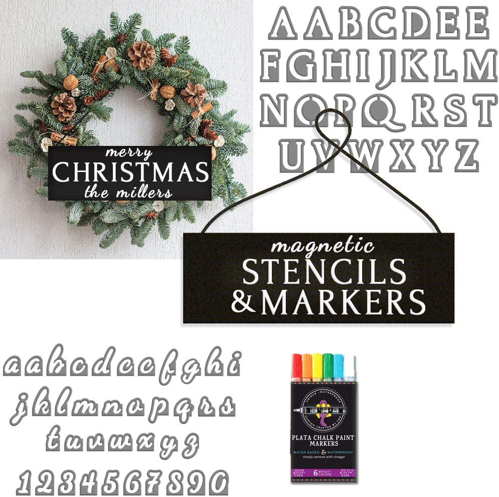 Plata Chalkboards Craft Gift Set | DIY Door Sign- Change Each Holiday | 2 Magnetic Stencil Letter Alphabets | 6 Chalk Paint Markers | Welcome Sign Farmhouse Wreath Decoration for Christmas