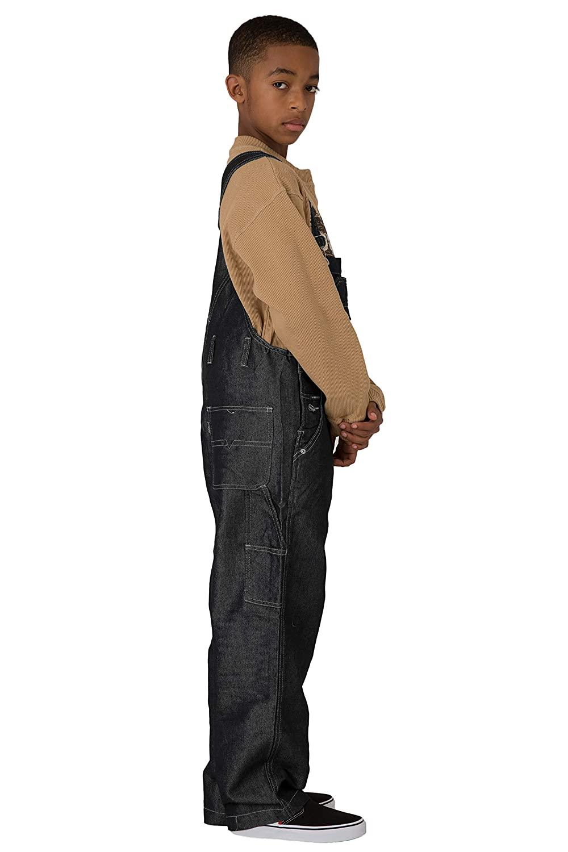Vibes Boys Black Shiny Denim Carpenter Overalls Relax Fit