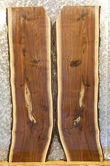 2  Bookmatched Wood Slabs Live Edge Black Walnut Side Table Tops T: 1 1