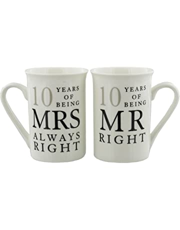 8118a7e5398 10th Anniversary Gift Set of 2 China Mugs 'Mr Right & Mrs Always ...