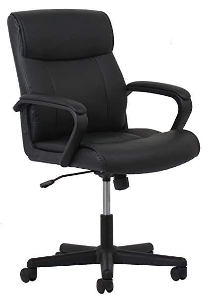 OFM Essentials Leather Executive Office/Computer Chair   Ergonomic Swivel  Chair, Black (ESS