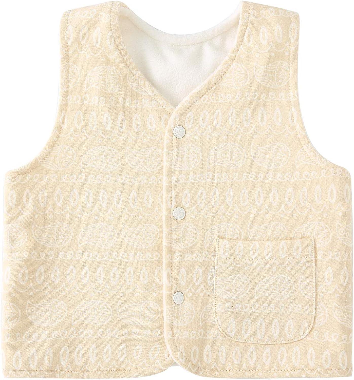 pureborn Baby Warm Sleeveless Jacket Cotton Vest Fall Winter Children Waistcoat 0-3 Years