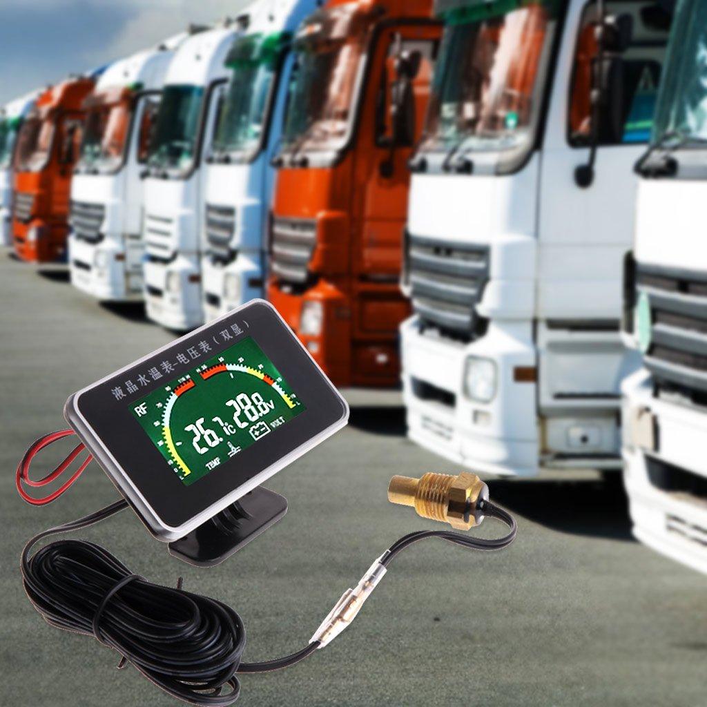Qisuw Car 2in1 LCD Digital Display 12-24V Voltmeter Kits Gauge Water Temperature Meter