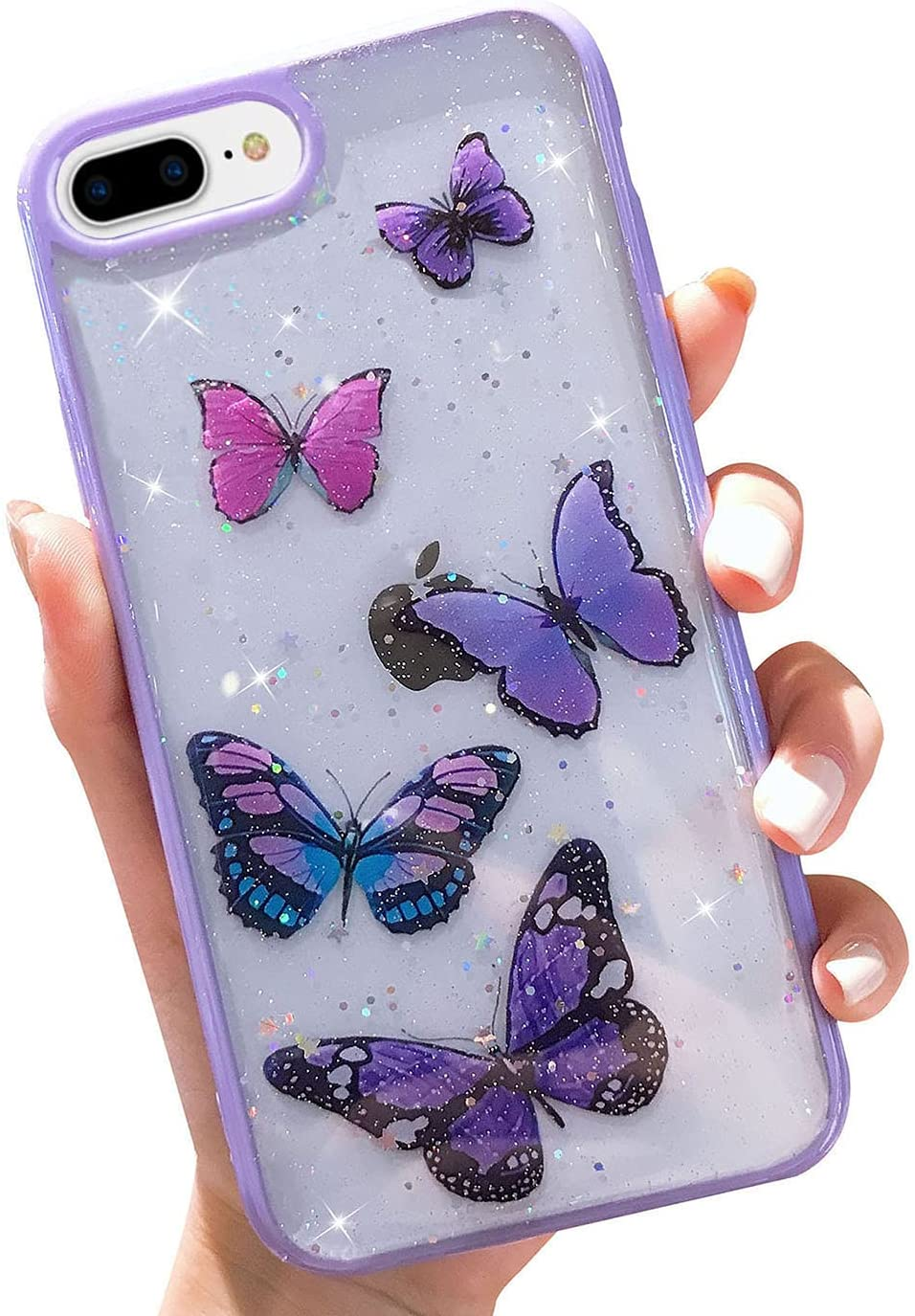 Butterfly Bling Clear Case Compatible with iPhone 8 Plus /7 Plus, wzjgzdly Glitter Case for Women Cute Slim Soft Slip Resistant Protective Phone Case Cover for iPhone 8 Plus / 7 Plus (5.5 inch)-Purple