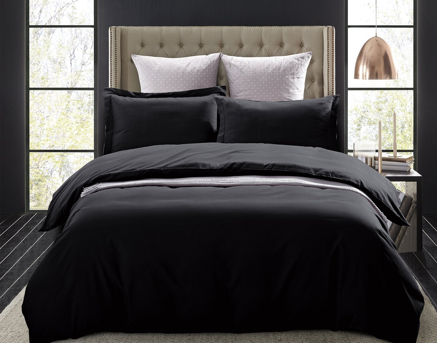 Full//Queen Word of Dream Brushed Microfiber 3 PC Solid Duvet Cover Set Navy COMIN18JU003712