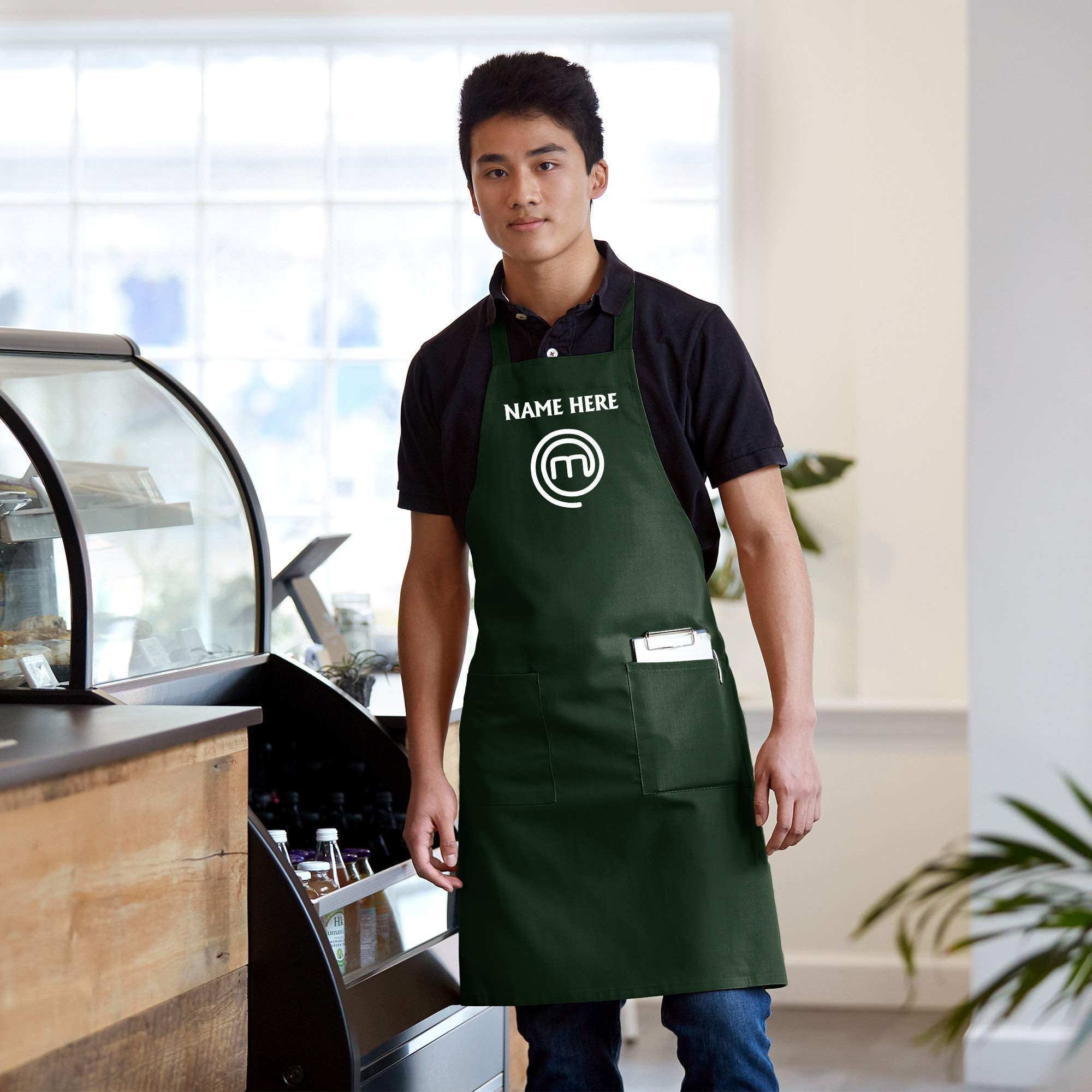 Custom name Cook Master Chef Apron Embroidered Adults Unisex by Custom T-shirts Printing and Embroidery - Place4Print