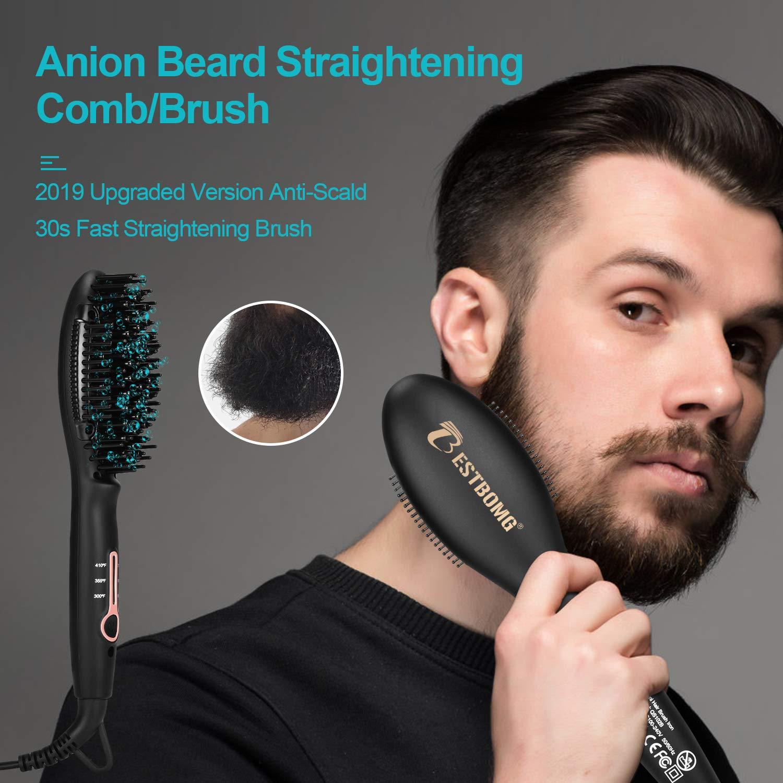 Bartglätter für Männer, BESTBOMG Haarglätter Bürste, 3 Temperaturen Anti-Verbrühungs-Bartglättungsbürste mit LED-Display-Bartkamm für zu Hause und unterwegs