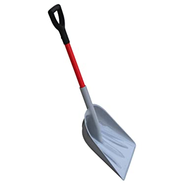 TABOR TOOLS Snow Scoop with Fiberglass Handle, 15 Inch Wide Blade, Large Snow Shovel and Mulch Scoop with Comfortable D Grip Handle. J218A. (Snow Scoop, Short 26 Inch Handle)