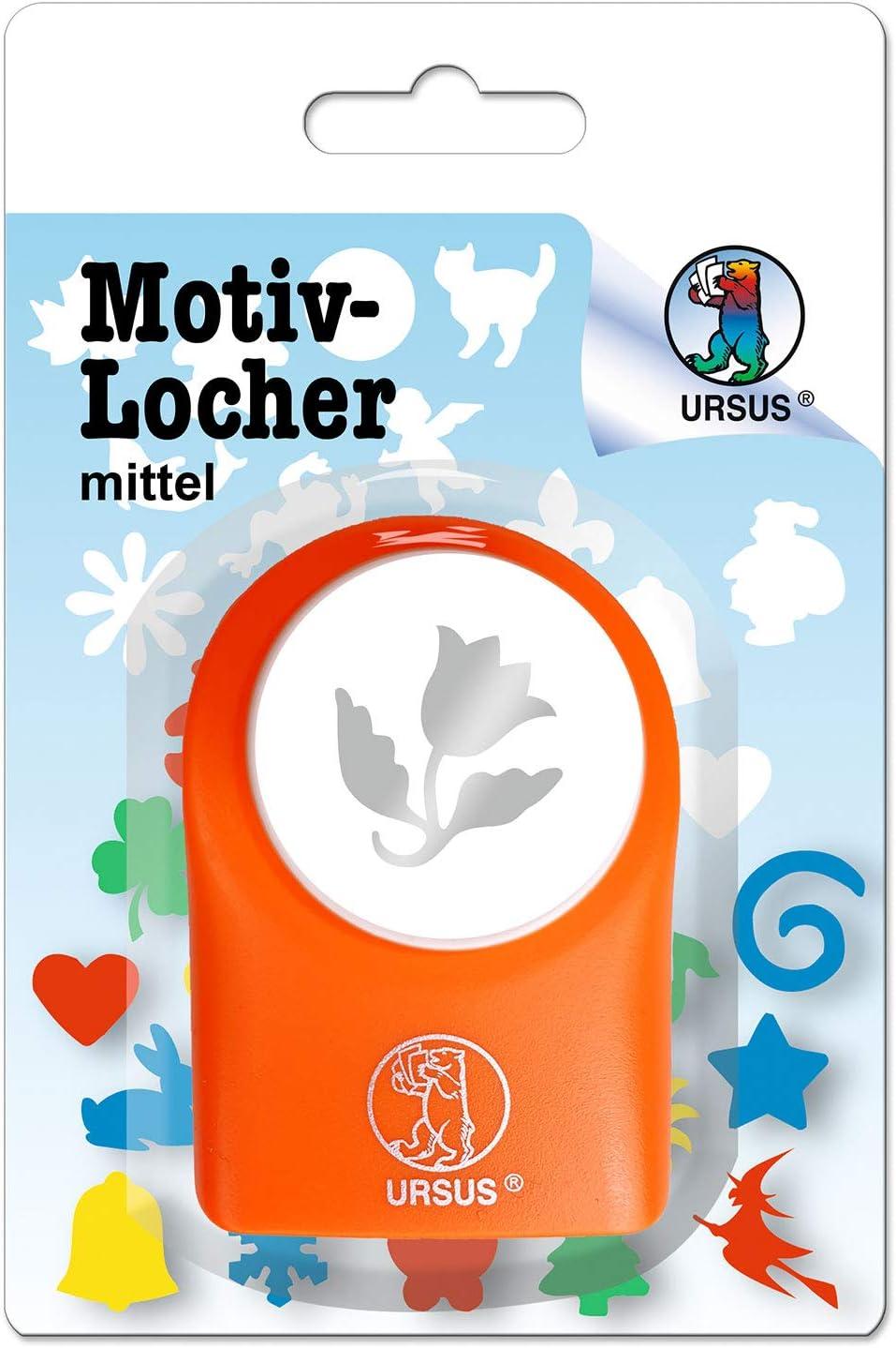 Ursus 19520043 Perforatrice /à Motif Fleur de Cloche en Plastique Orange /Ø env 25,4 mm pour Papier de qualit/é de 160-220 g//m/² avec Bouton Pression