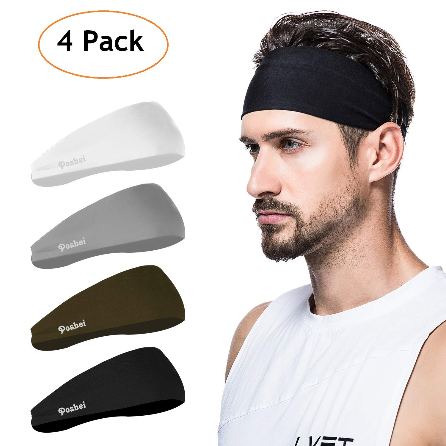 poshei Mens Headband (4 Pack), Mens Sweatband & Sports Headband for Running, Crossfit, Cycling, Yoga, Basketball - Stretchy Moisture Wicking Unisex Hairband by poshei