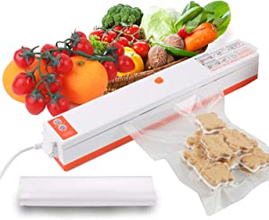 Vacuum Sealer Machine, HAIPUSEN Automatic Food Sealer for Food Preservation, Air Sealing System for Dry/Moist Food with 10 Vacuum Sealer Bags