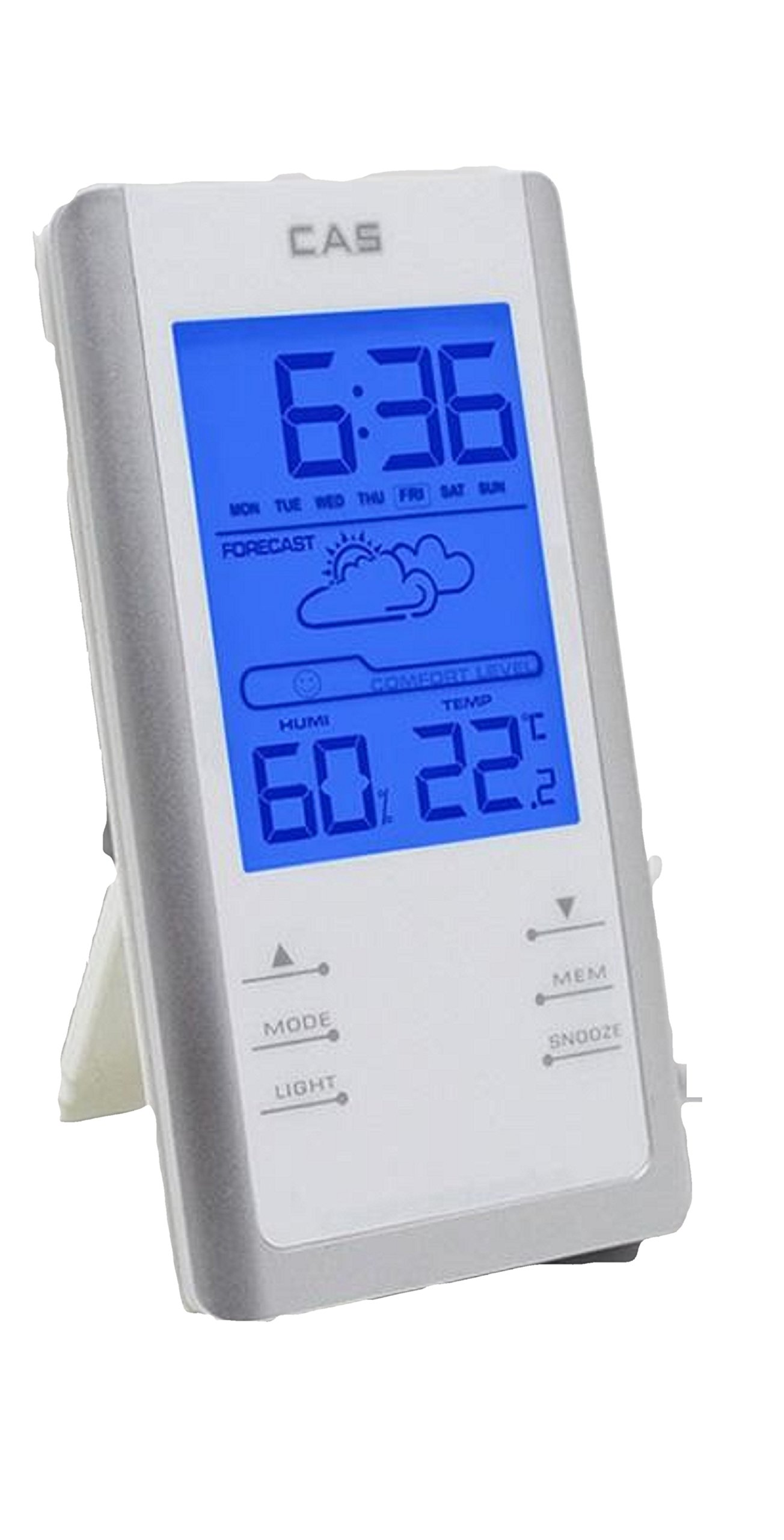 Digital Thermo-Hygrometer Clock, Temperature, Humidity Alarms and Snooze Support Fahrenheit and Celsius, 2 AAA Batteries Operated(Not Included) Blue Backlight