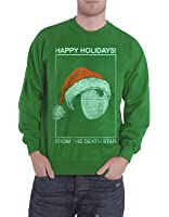 Star Wars Christmas Jumper Sweatshirt Death Star Holidays Official Mens Green