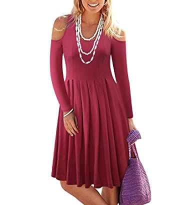 32b9dfb40799 BIKATU Women's Casual Pleated Cold Shoulder Long Sleeve Dresses(Light  Burgundy ...