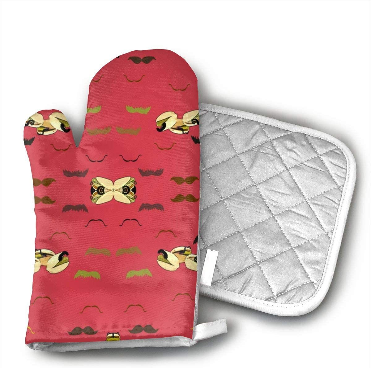 Sjiwqoj8 Pistachios with Mustachios Kitchen Oven Mitts,Oven Mitts and Pot Holders,Heat Resistant with Quilted Cotton Lining,Cooking,Baking,Grilling,Barbecue