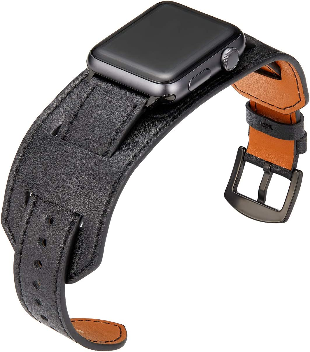 SEMILU Compatible with Apple Watch Band 42mm 44mm,Genuine Leather Replacement Strap Compatible with iwatch SE Series 6 5 4 3 2 1-42/44mm Black