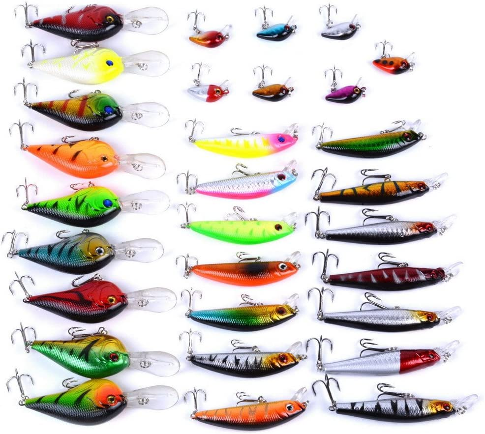 aorace Fishing Lures Kit Mixed Including Minnow Popper Crank Baits with Hooks for Saltwater Freshwater Trout Bass Salmon Fishing
