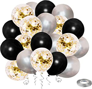HiQuaty Black and Gold Confetti Balloons, Silver Balloon 50Pack 12inches Latex Party Balloons For Birthday Graduation Wedding Party Decor with Silver Ribbon