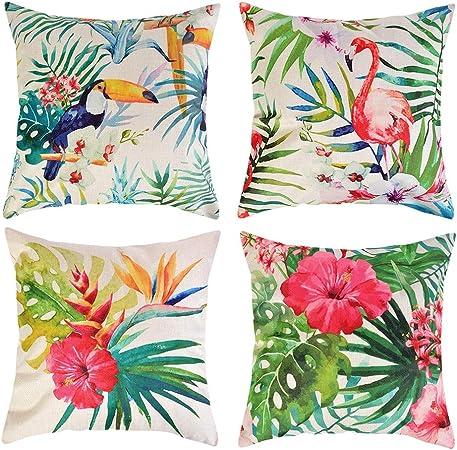 Funda de Cojín 45 x 45 de Lino de algodón Suave sofá Funda de Almohadadel Coche decoración de la Cama en Casa,con Cremallera Oculta, Juego de 4(Flamingo Planta Tropical: Amazon.es: Hogar