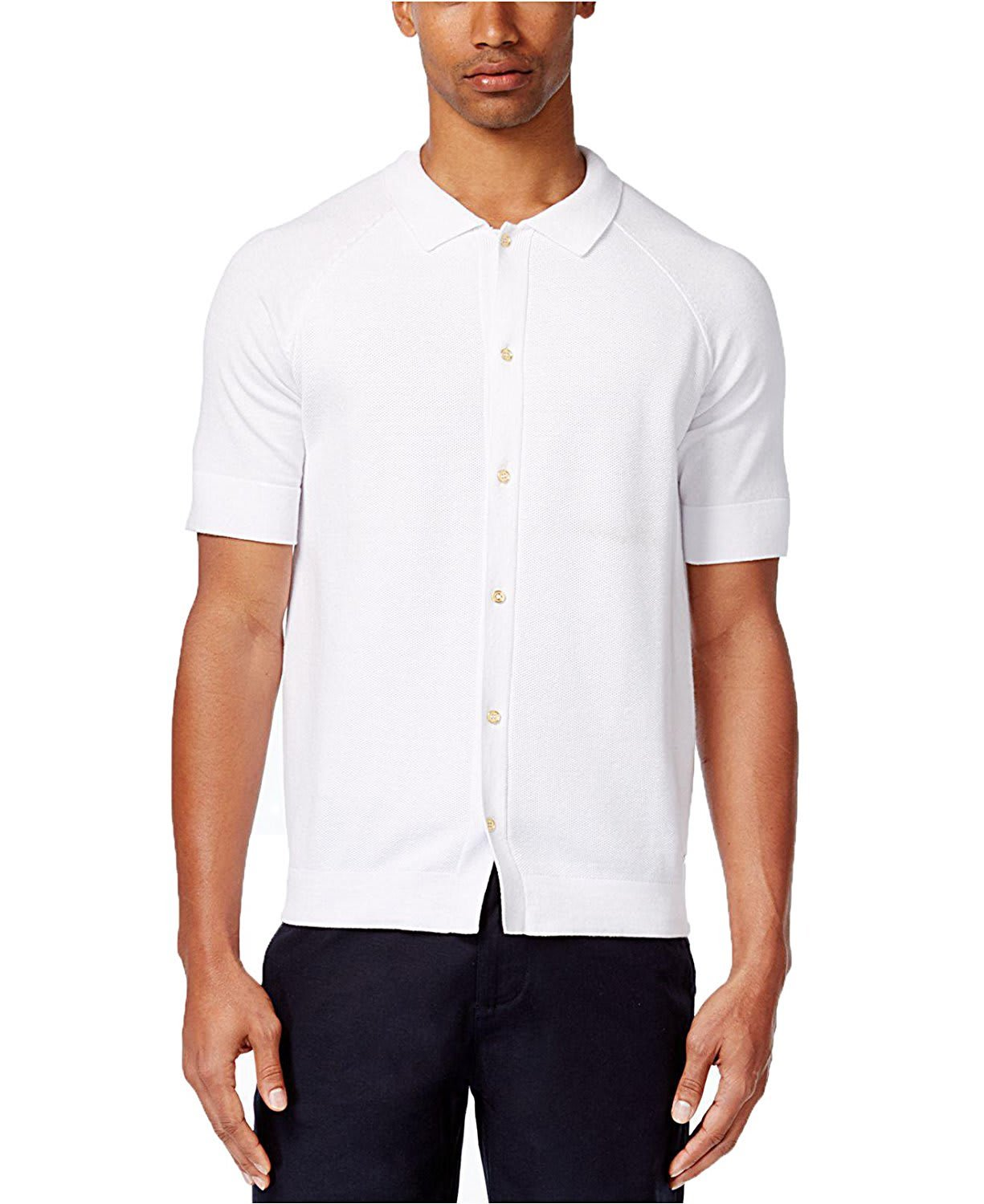 Sean John Mens Knit Textured Button-Down Shirt MS170102 BRIGHT WHITE