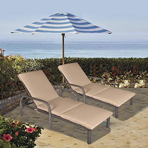 MAGIC UNION Patio Rattan Adjustable Wicker Chaise Lounge