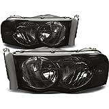 Dodge Ram Pair of Smoke Housing Headlight Head Lamp Light Corner - 3rd Gen DR/DH/D1/DC/DM