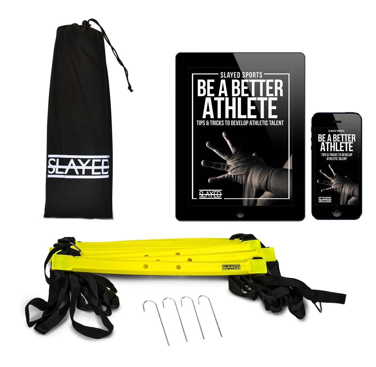 Slayed Sports AGILITY LADDER (15FT) by Workout Equipment Includes Metal Pegs, Carry Bag, and BONUS E-book with Video of Agility Drills and Athletic Development Tips |