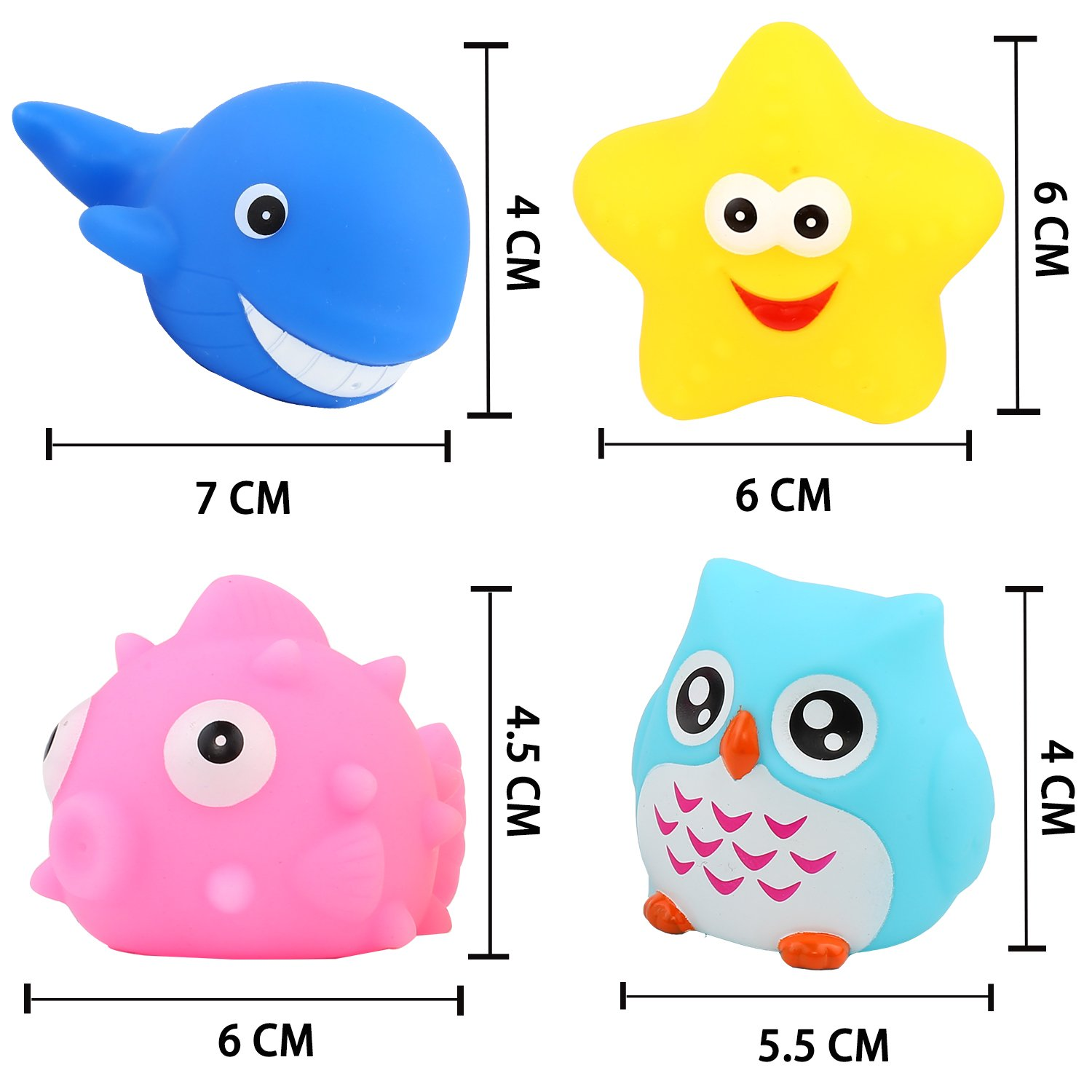 CHIMAGER Baby Infants Kids Toddler Child Preschool Bathtub Bathroom Shower Games Swimming Pool Party Flashing Color Changing Light in Water Bath Toys 8 Pcs Light Up Floating Rubber Animal Toys Set