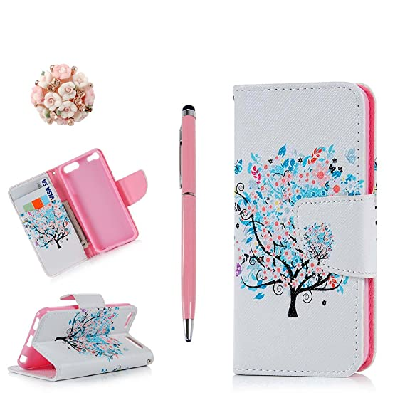 promo code 46a78 e661e iPod Case iPod Touch 6 Case -MOLLYCOOCLE Stand Wallet Purse Credit Card ID  Holders Magnetic Design Flower with Tree Premium PU Leather Ultra Slim Fit  ...