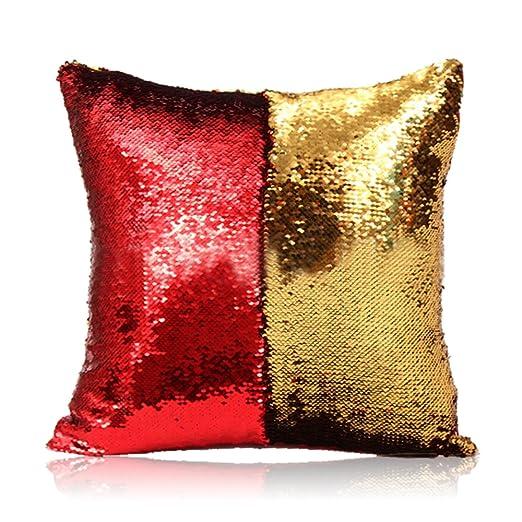 HomeLava Fundas de Cojín Dos Colores Cambio DIY Lentejuelas Fundas de Almohada 40x40cm,Rojo + Dorado